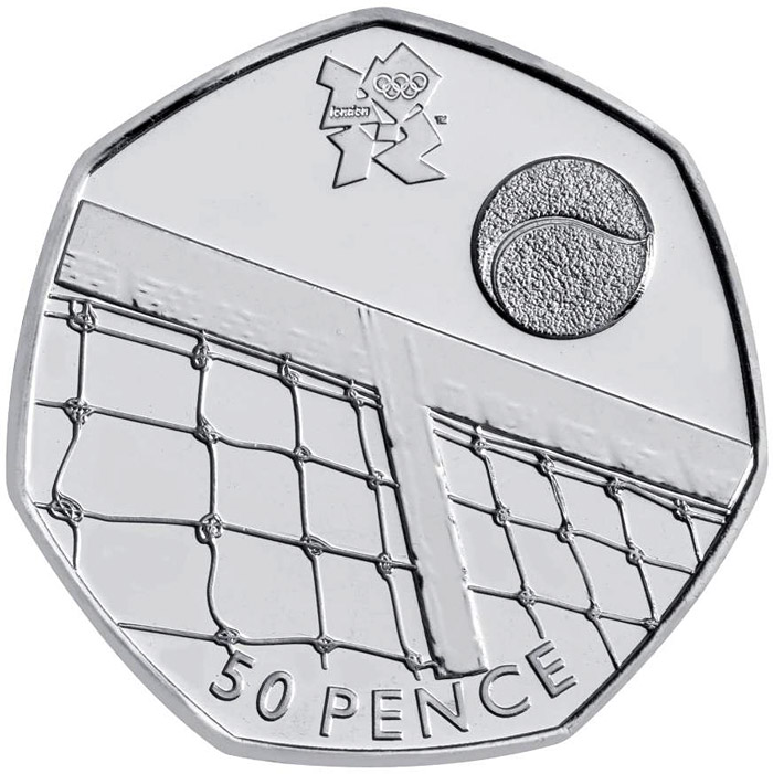 Image of Tennis – 50 pence coin United Kingdom 2011.  The Silver coin is of BU, UNC quality.