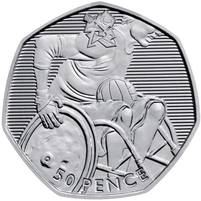 50 Pence Coin Wheelchair Rugby United Kingdom 2011