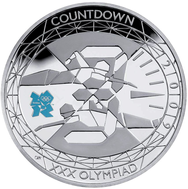 Image of 5 pounds coin - Countdown to London 2012 – 3 | United Kingdom 2009.  The Silver coin is of Proof, BU quality.