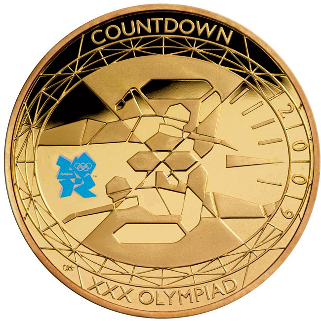 Image of 5 pounds coin - Countdown to London 2012 – 3 | United Kingdom 2009.  The Gold coin is of Proof quality.