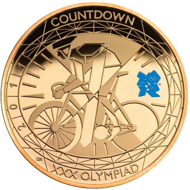 Image of 5 pounds coin - Countdown to London 2012 – 1 | United Kingdom 2011.  The Gold coin is of Proof quality.