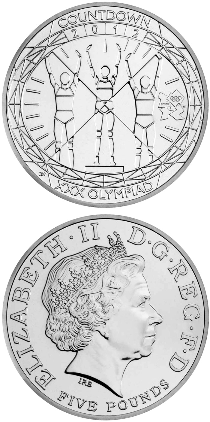 Image of 5 pounds coin - Countdown to London 2012 | United Kingdom 2012.  The Silver coin is of Proof, BU quality.