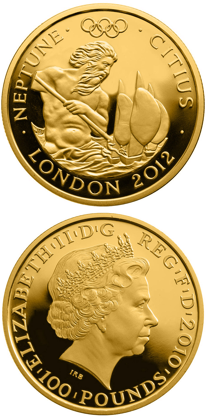 Image of 100 pounds coin – Faster - Neptune  | United Kingdom 2010.  The Gold coin is of Proof quality.