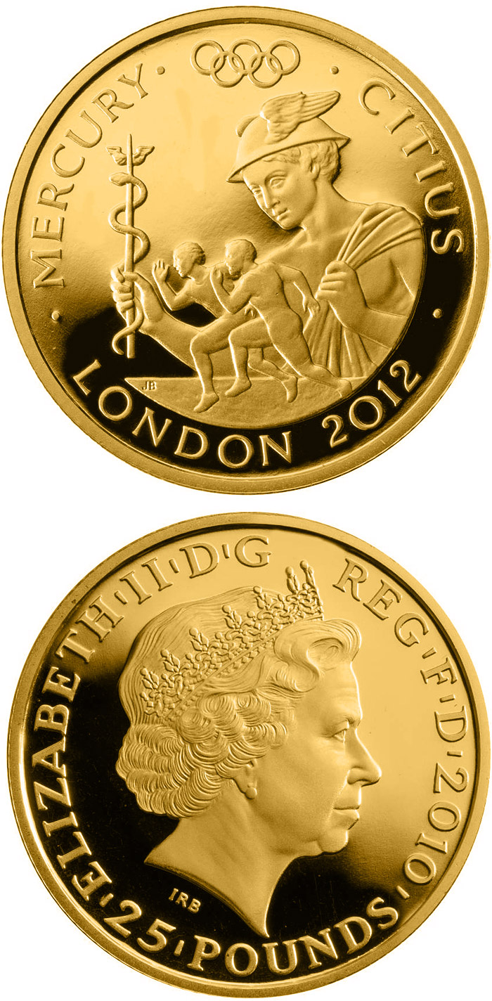 Image of 25 pounds coin - Faster - Mercury  | United Kingdom 2010.  The Gold coin is of Proof quality.