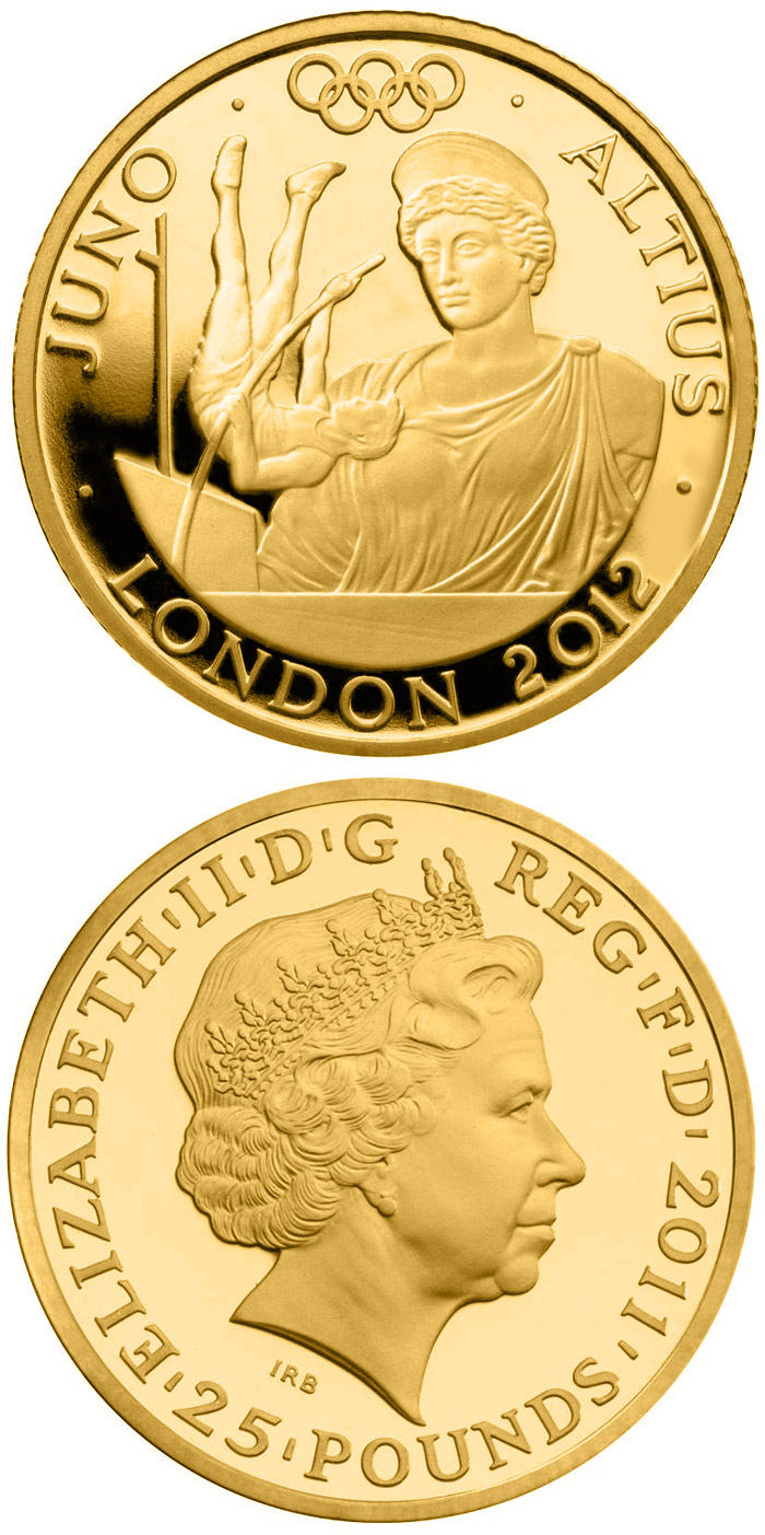 Image of 25 pound coin Higher - Juno  | United Kingdom 2011.  The Gold coin is of Proof quality.