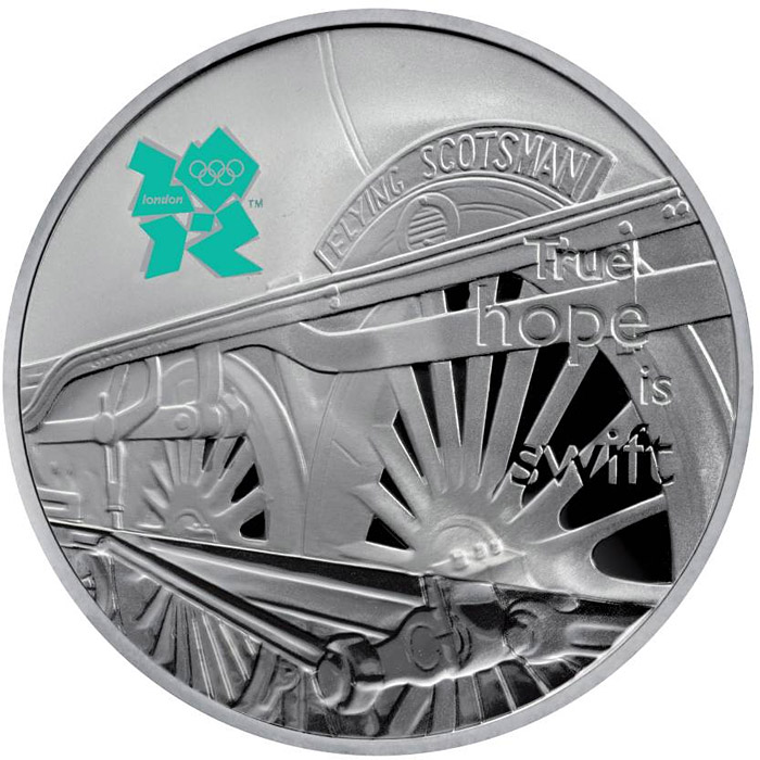 Image of 5 pounds coin - The Flying Scotsman | United Kingdom 2010.  The Silver coin is of Proof quality.