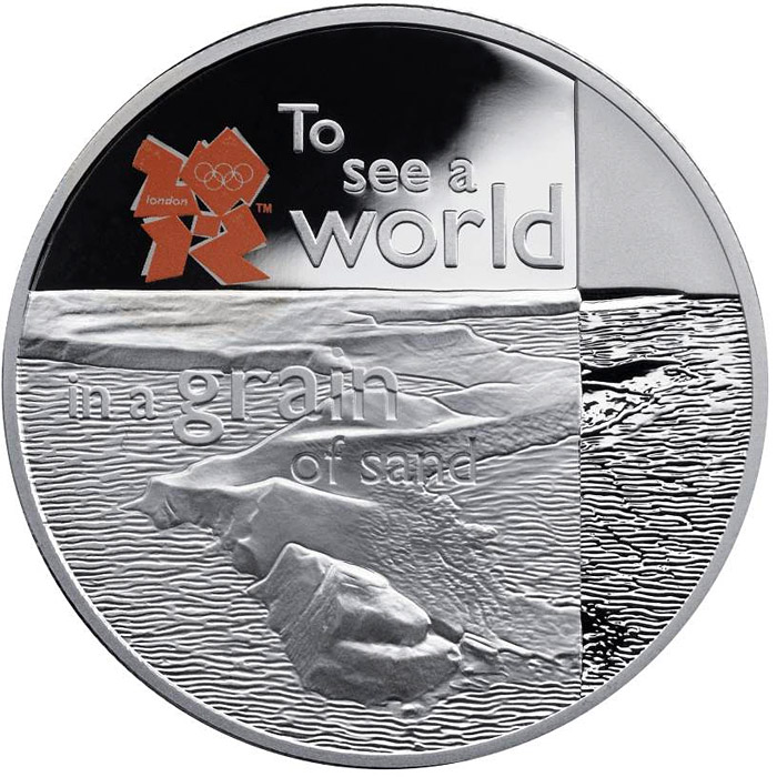 Image of 5 pounds coin – The Coastline of Britain | United Kingdom 2010.  The Silver coin is of Proof quality.
