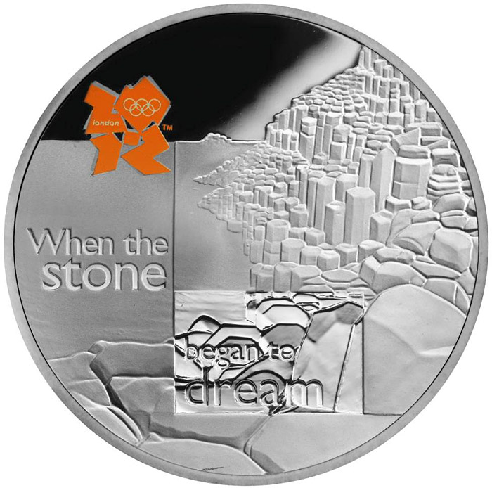 Image of 5 pounds coin - Giant's Causeway | United Kingdom 2010.  The Silver coin is of Proof quality.