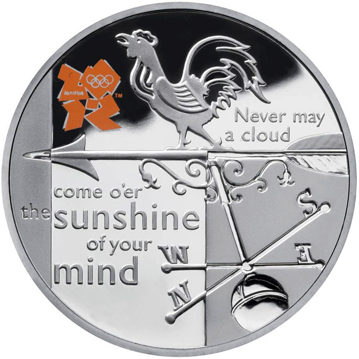 Image of 5 pounds coin - Weather | United Kingdom 2010.  The Silver coin is of Proof quality.