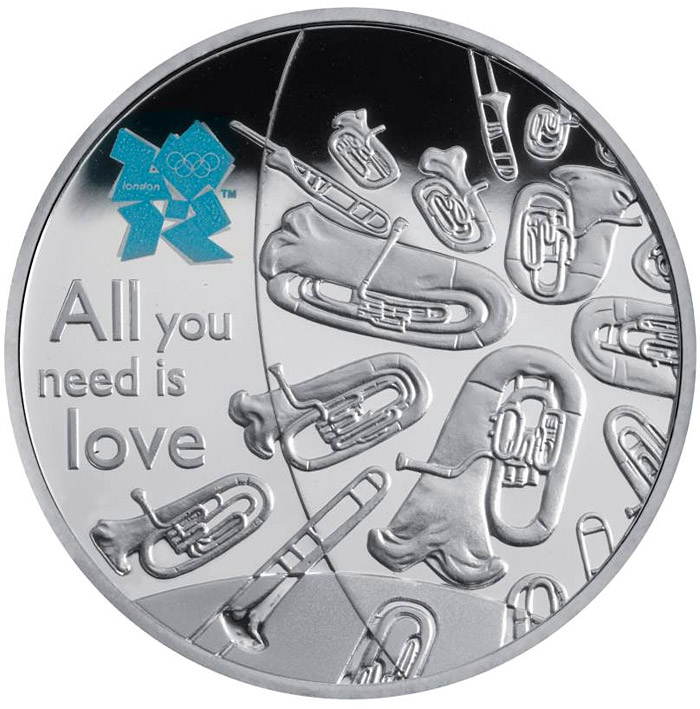 Image of 5 pound coin Music | United Kingdom 2010.  The Silver coin is of Proof quality.