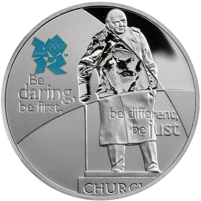 Image of 5 pounds coin – Sir Winston Churchill | United Kingdom 2010.  The Silver coin is of Proof quality.