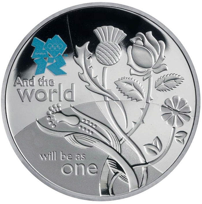 Image of 5 pounds coin - Unity | United Kingdom 2010.  The Silver coin is of Proof quality.