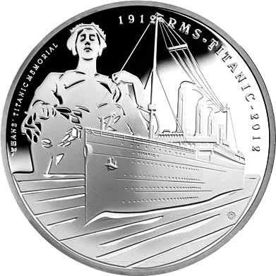 Image of 5 pounds coin - 100th Anniversary of the Titanic | United Kingdom 2012.  The Copper–Nickel (CuNi) coin is of Proof, BU quality.