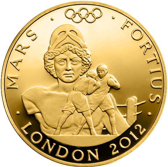 Image of Stronger - Mars – 100 pound coin United Kingdom 2012.  The Gold coin is of Proof quality.