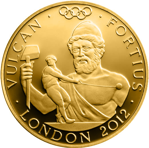 Image of 25 pounds coin – Stronger - Vulcan | United Kingdom 2012.  The Gold coin is of Proof quality.