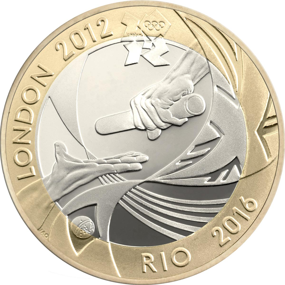 Image of 2 pounds coin - Handover to Rio | United Kingdom 2012.  The Bimetal: CuNi, nordic gold coin is of Proof, BU, UNC quality.