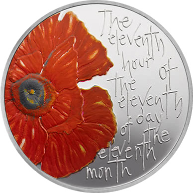 Image of 5 pounds coin - Remembrance Day 2012 | United Kingdom 2012.  The Copper–Nickel (CuNi) coin is of BU quality.