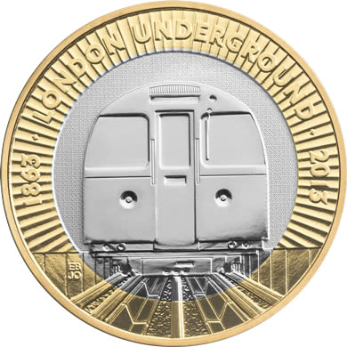 Image of 2 pounds coin - 150th Anniversary of the London Underground - The Train | United Kingdom 2013.  The Bimetal: CuNi, nordic gold coin is of Proof, BU, UNC quality.