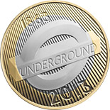2 pound coin 150th Anniversary of the London Underground - The Roundel | United Kingdom 2013