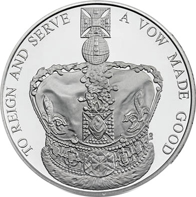 Image of 5 pounds coin – 60th Anniversary of the Queen's Coronation | United Kingdom 2013.  The Copper–Nickel (CuNi) coin is of BU quality.