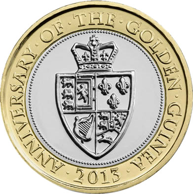 Image of 2 pounds coin – The 350th Anniversary of the Guinea | United Kingdom 2013.  The Bimetal: CuNi, nordic gold coin is of Proof, BU, UNC quality.