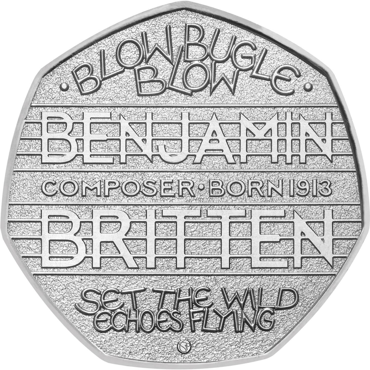 Image of 50 pence coin - The 100th Anniversary of the Birth of Benjamin Britten | United Kingdom 2013.  The Copper–Nickel (CuNi) coin is of UNC quality.