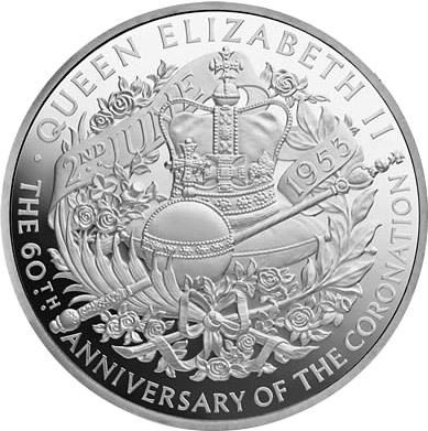 Image of 10 pound coin 60th Anniversary of Coronation | United Kingdom 2013.  The Silver coin is of Proof quality.