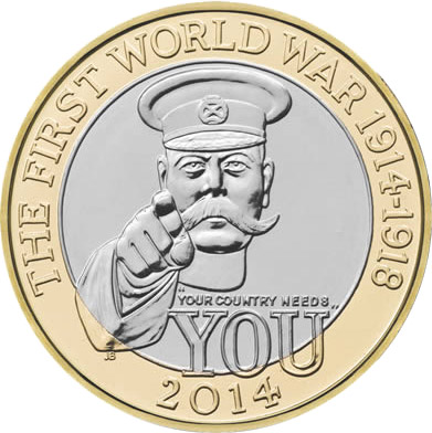 Image of 2 pound coin The 100th Anniversary of the FWW – Outbreak UK  | United Kingdom 2014.  The Bimetal: CuNi, nordic gold coin is of Proof, BU, UNC quality.