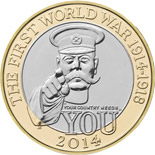 2 pound coin The 100th Anniversary of the FWW – Outbreak UK  | United Kingdom 2014