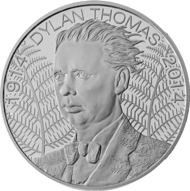 Image of 5 pounds coin - 100th Anniversaryof the Birth of Dylan Thomas | United Kingdom 2014.  The Copper–Nickel (CuNi) coin is of BU quality.