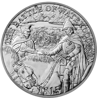 Image of 5 pounds coin - 200th Anniversary of Waterloo | United Kingdom 2015.  The Copper–Nickel (CuNi) coin is of BU quality.