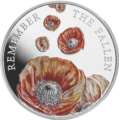 Image of 5 pound coin The Remembrance Day | United Kingdom 2014.  The Copper–Nickel (CuNi) coin is of BU quality.
