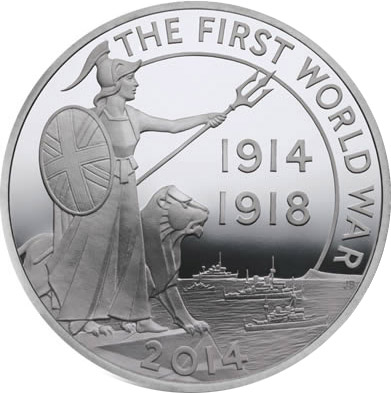 Image of 10 pounds coin - First World War Outbreak  | United Kingdom 2014.  The Silver coin is of Proof quality.