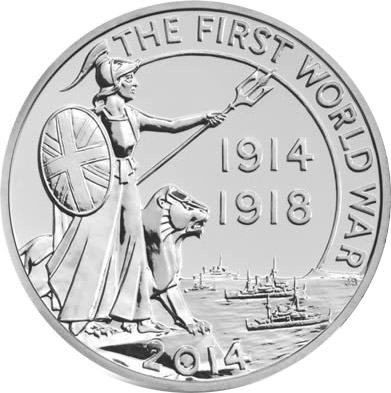 Image of a coin 20 pounds | United Kingdom | First World War Outbreak  | 2014