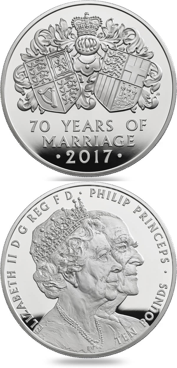 Image of 5 pounds coin - Platinum Wedding 2017 | United Kingdom 2017.  The Copper–Nickel (CuNi) coin is of BU quality.