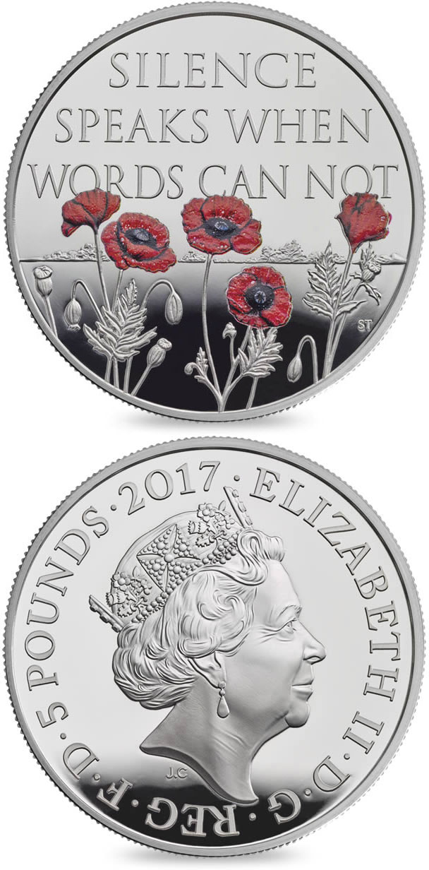 Image of 5 pounds coin - The Remembrance Day 2017  | United Kingdom 2017.  The Copper–Nickel (CuNi) coin is of BU quality.