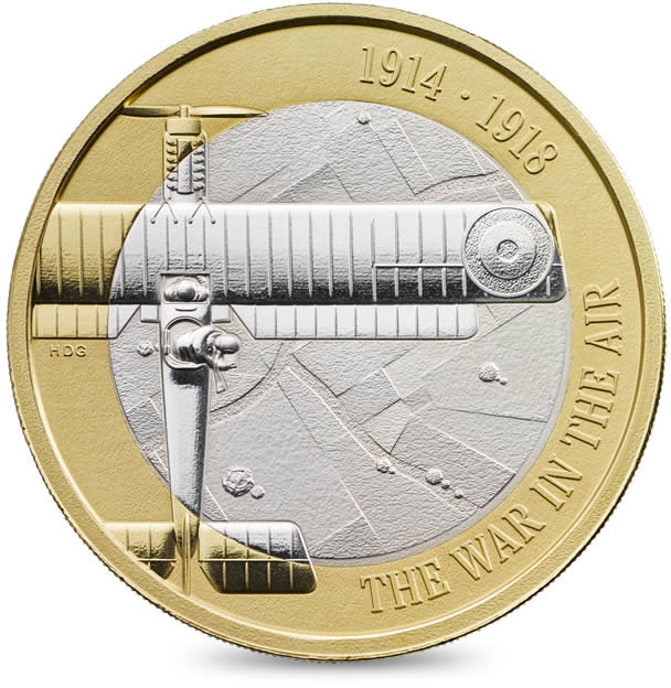 Image of 2 pounds coin - 100th Anniversary of the First World War Aviation | United Kingdom 2017.  The Bimetal: CuNi, nordic gold coin is of Proof, BU, UNC quality.
