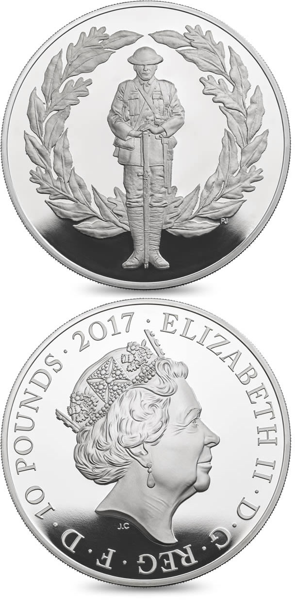 Image of 10 pounds coin - The 100th Anniversary of the First World War | United Kingdom 2017.  The Silver coin is of Proof quality.