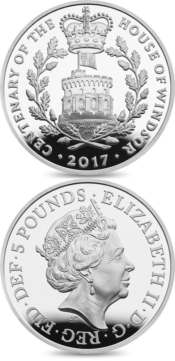 Image of 5 pounds coin - House Of Windsor Centenary | United Kingdom 2017.  The Copper–Nickel (CuNi) coin is of BU quality.