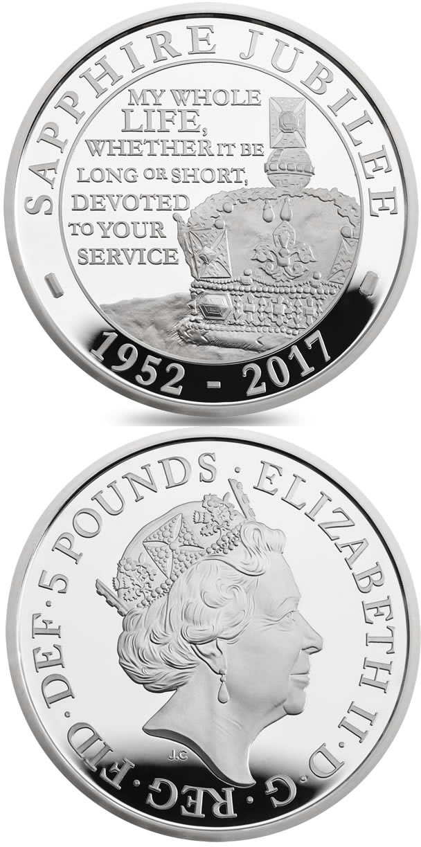 Image of 5 pounds coin - The Queen's Sapphire Jubilee  | United Kingdom 2017.  The Copper–Nickel (CuNi) coin is of BU quality.
