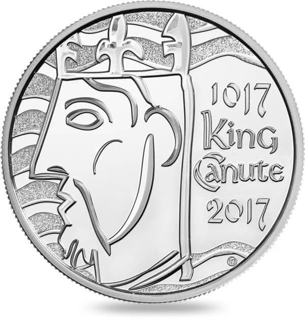 Image of 5 pounds coin - The 1000th Coronation of King Canute | United Kingdom 2017.  The Copper–Nickel (CuNi) coin is of BU quality.