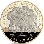 2 pound coin 350th Anniversary of the Great Fire of London | United Kingdom 2016