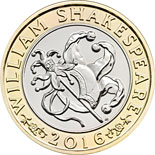 2 pound coin William Shakespeare - Comedy  | United Kingdom 2016