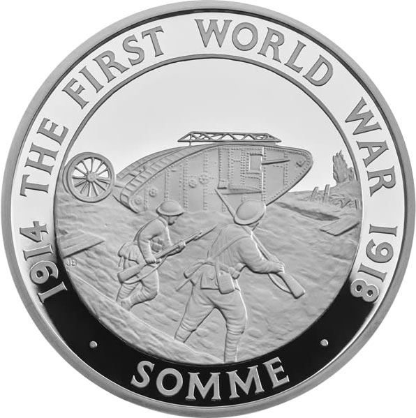 Image of 5 pounds coin – 100th Anniversary of The Battle of Somme | United Kingdom 2016.  The Silver coin is of Proof quality.