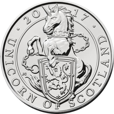 Image of 5 pounds coin – The Unicorn of Scotland | United Kingdom 2017.  The Silver coin is of BU quality.