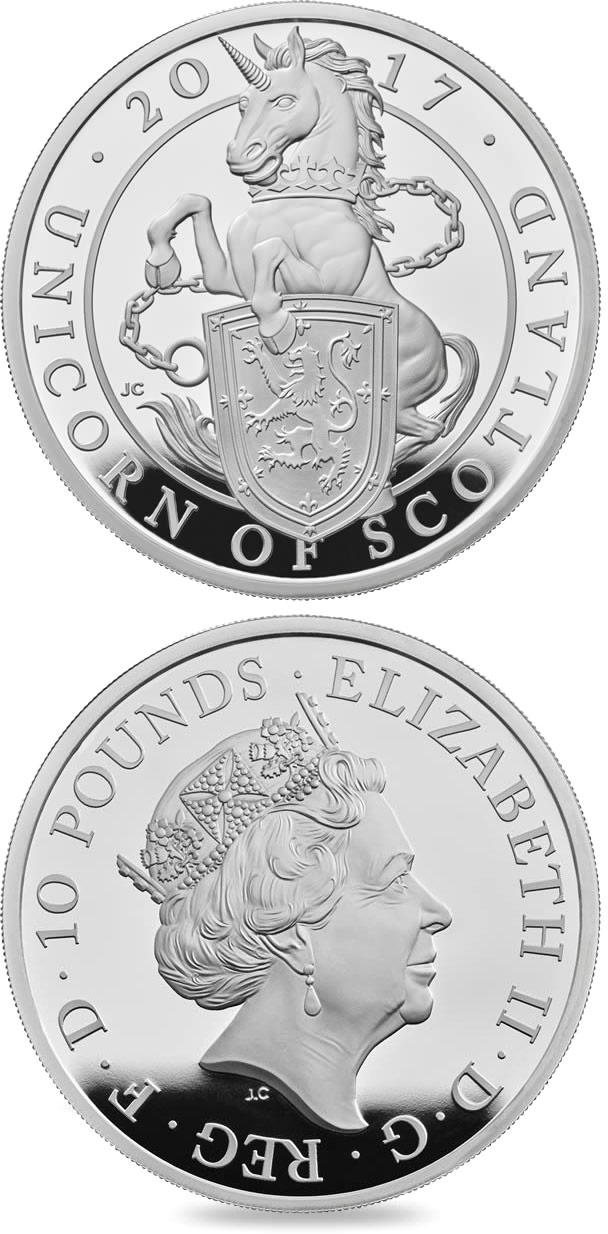 Image of 10 pounds coin – The Unicorn of Scotland | United Kingdom 2017.  The Silver coin is of Proof quality.