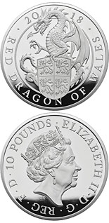 10 pound coin The Red Dragon of Wales | United Kingdom 2018