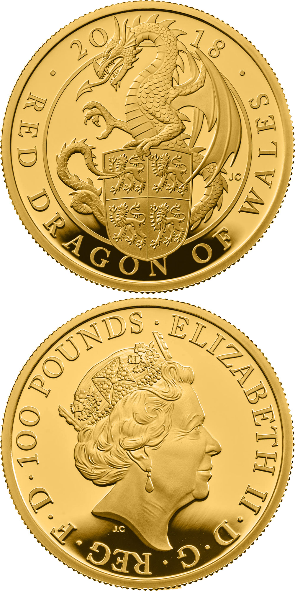 Image of 100 pounds coin - The Red Dragon of Wales | United Kingdom 2018.  The Gold coin is of Proof quality.