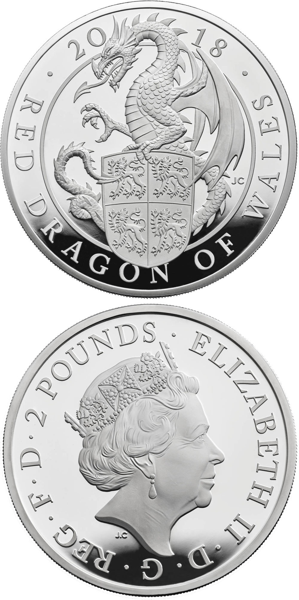 Image of 2 pounds coin – The Red Dragon of Wales | United Kingdom 2018.  The Silver coin is of Proof quality.