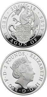 2 pound coin The Red Dragon of Wales | United Kingdom 2018